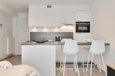 arcadia studio apartment with fully equipped kitchen, coffee machine and dishwasher
