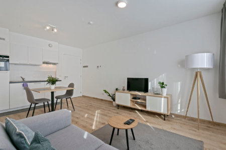 b-square studio apartment living space with cable tv