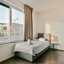 single bed studio apartment with canal views and linen included