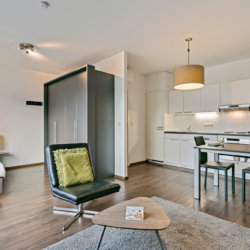 spacious studio apartment with wardrobe storage on brussels canal
