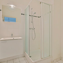 bathroom with shower at bbf apartments waterview residence