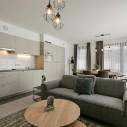 b-square two bedroom apartment with fully equipped kitchen and dishwasher