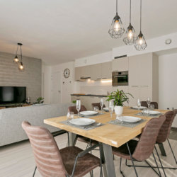 b-square two bedroom apartment with six person dining table