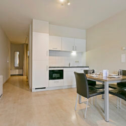 fully equipped kitchen and four person dining table