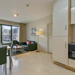 spacious living room in serviced one bedroom apartment