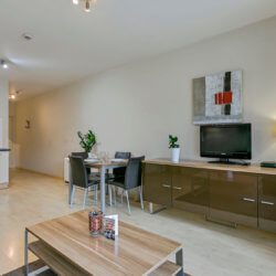 cable tv and dining table in one bedroom bbf apartment