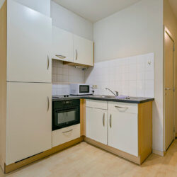fully equipped kitchen with cleaning bi-weekly