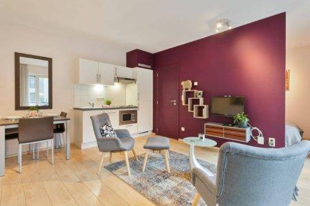 living room of serviced studio apartment between city centre and EU
