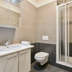 living room of serviced studio apartment with shower bathroom and fortnightly cleaning