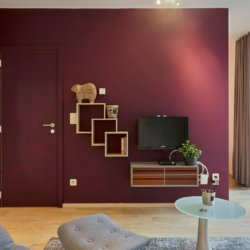 living room of serviced studio apartment with cable television