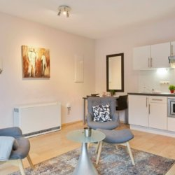 living room of serviced studio apartment with fully equipped kitchen and heating