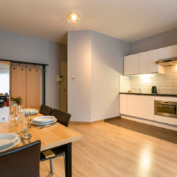dunant gardens one bedroom apartment dining and kitchen
