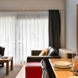 dunant gardens one bedroom apartment dining and living space