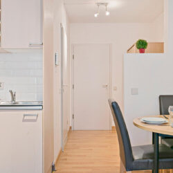 fully equipped kitchen in serviced studio apartment near nato
