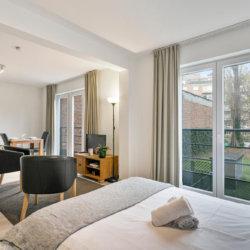 double bed in eurogardens studio apartment
