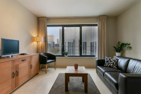 spacious living room in studio apartment near brussels world trade centre