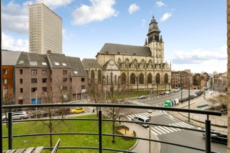 view of church in sablon brussels from furnished one bedroom apartment