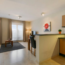 living room and fully equipped kitchen in serviced apartment