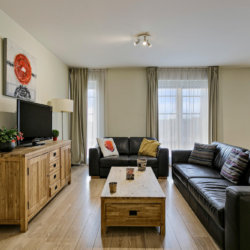 spacious living room with two sofas and coffee table and cable tv