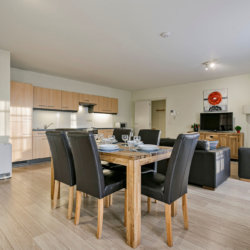 dining and living space in three bedroom serviced apartment