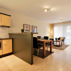 two bedroom apartmen with dining, living and fully equpped kitchen