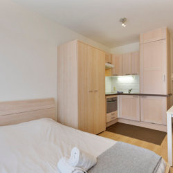 furnished studio apartment with fully equipped kitchen near european commission