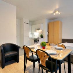 furnished dining room in studio apartment opposite park cinquantenaire