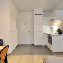 fully equipped kitchen in serviced studio apartment near brussel's cinquantenaire park
