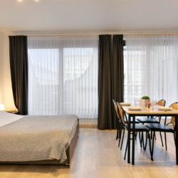 spacious studio apartment with double bed and dining table opposite park cinquantenaire