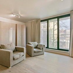 spacious living room with pull down double bed in studio apartment