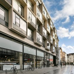 exterior facade of brussels square residence in the city centre
