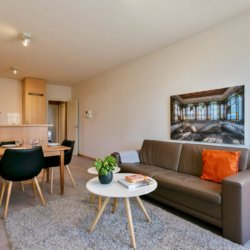sofa and four person dining table in furnished bbf apartment in brussels