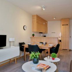 cable tv and dining table in bbf serviced apartment