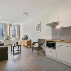 fully equipped kitchen and cable television in serviced bbf apartment brussels