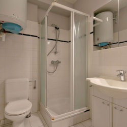 bathroom with shower in bbf studio apartment