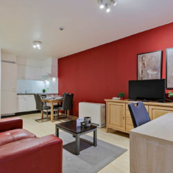 cable telelvision and sofa in serviced apartment in european quarter