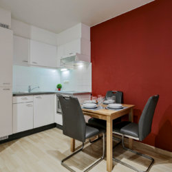 dining table in furnished apartment with fully equipped kitchen