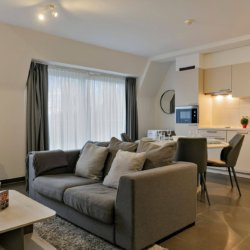 living room with sofa and spacious kitchen
