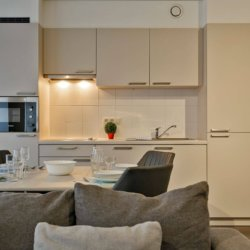 fully equipped kitchen in serviced apartment in west brussels
